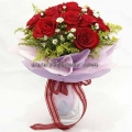 12 Red Roses With White Bouquet