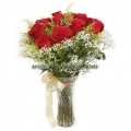 Red Roses With Glass Vase