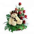 8 inch Teddy and red rose