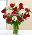 Red Rose and White Calla Lily