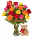 Valentine's Rose Bouquet with Bear