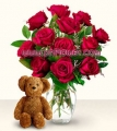 Long Stemmed Red Rose Bouquet with Bear