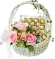 Pink rose and Chocolate Basket
