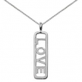 Sterling Silver Love Open Bar Charm Pendant