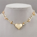 Multi-Strand Two-Tone Pearl Heart Necklace