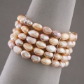 4 Row 8-9mm Fresh Water Pink Pearl Bracelet