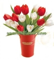 Tulips in French Pail