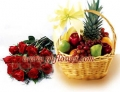 One dozen Red rose and Classic Fruits Basket